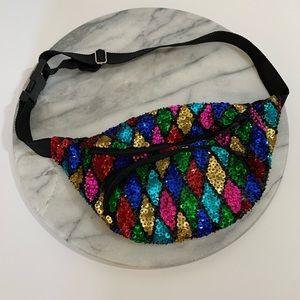 Vintage rainbow sequin fanny pack